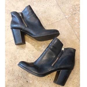 Aldo Black Leather Heeled Bootie